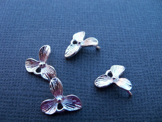 Orchid Charms, Silver Plated Over Solid Copper 11 x 10mm (4 pcs)
