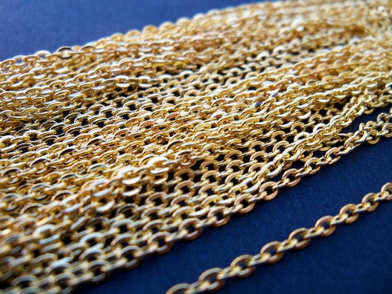 32 Feet Gold Plated Cable Chain  3mm by 2mm 10 meters Nickel Free