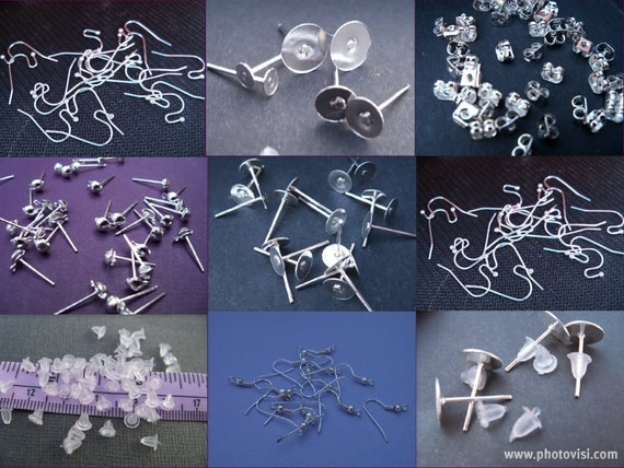 Assorted Silver Plated Earring Findings, Ear Wires and Backs, 396 pieces
