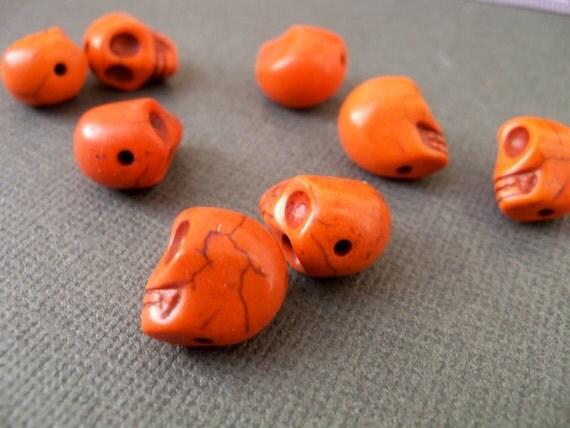 Orange Howlite Sugar Skull Beads 10 pcs