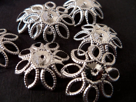 Large Silver Bead Caps, Flexible, 15 pcs