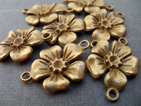 Antiqued Bronze Flower Connectors 12 pcs