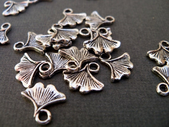 Antiqued Silver Ginko Leaf Charms 16 pcs