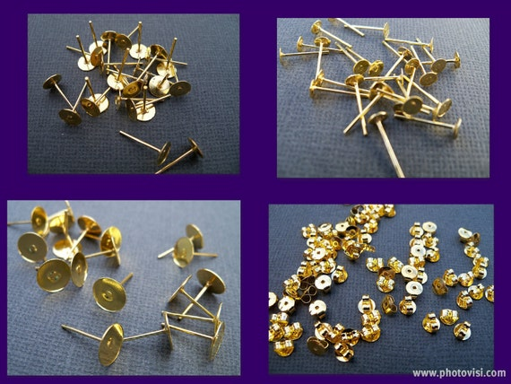 Flat Pad Earring Posts, Gold Plated, 4mm, 6mm and 8mm with Matching Gold Plated Backs