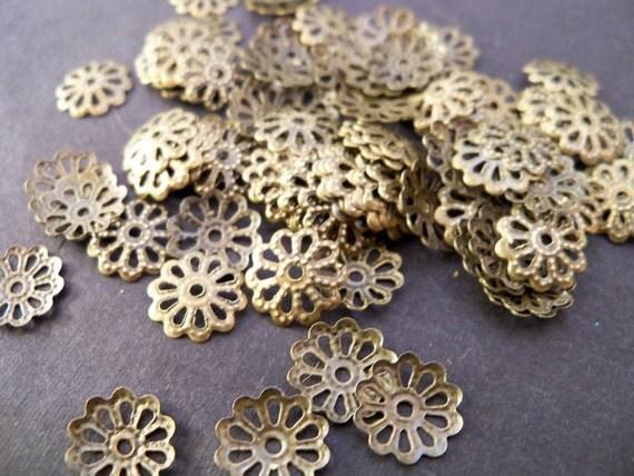 200 Antiqued Bronze Bead Caps 8mm