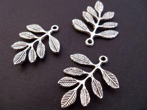 Antiqued Silver Leafy Branch Charm-Connectors, 6 pcs