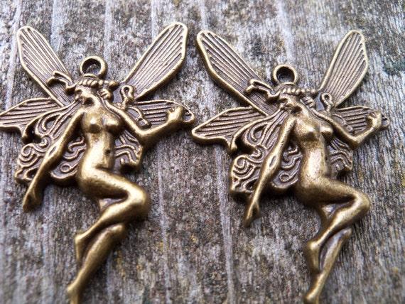Antiqued Bronze Fairy Pendants, 44mm, lead free, 3 pcs