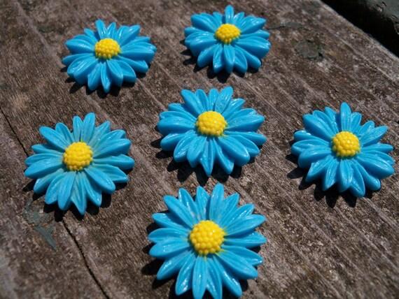 Sky Blue Sunflower Cabochon, Resin, 27mm 6 pcs