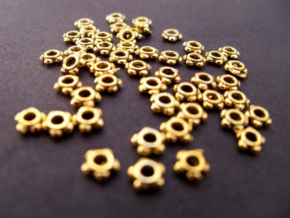 Antiqued Gold Daisy Spacer Beads, 4mm, 90 pcs