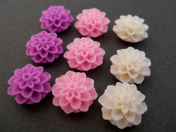 Mum Flower Cabochons, Pink, Lavender and Cream, 12 pcs, 16mm