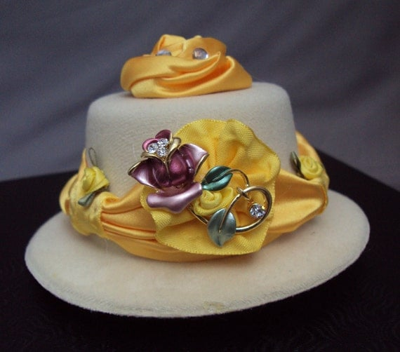 "ON SALE Belle inspired mini top hat ""Enchanted Rose"" in yellow and ivory for the disney princess"