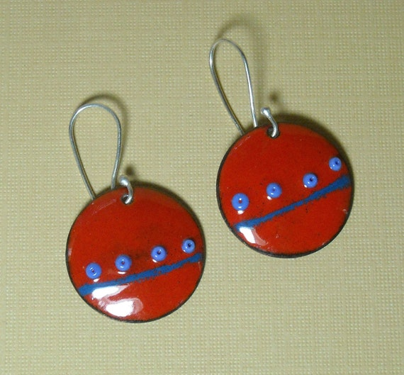 Red and Blue Sterling Silver and Enameled Copper Earrings