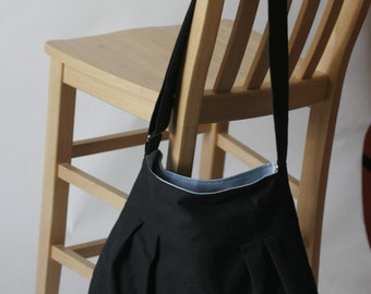The Market Tote in Black and Sky Blue - Ready to Ship