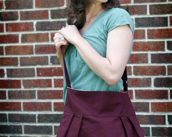 The Market Tote Plum with Ivory Organic Cotton Lining - Ready to Ship