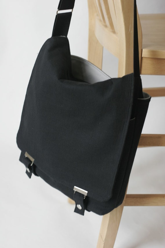 The Satchel- in Black and Gray- Messenger for Men and Women