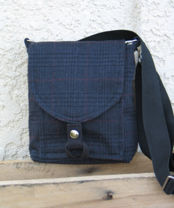 SALE- Mini Messenger Bag  Recycled Wool Hipster