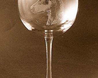 Etched Doberman Pinscher on Elegant Wine Glass (set of 2)