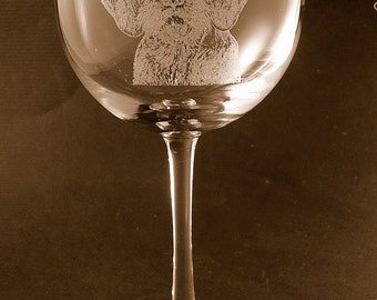 Etched German Wirehaired Pointer on Elegant Wine Glass (set of 2)
