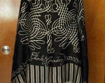 """Vintage CHARLES JOURDAN Paris Boutique SILK Wrap Scarf 54"""" X 54"""""""