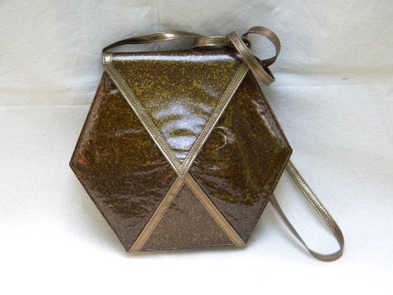 Vintage 1970s HEXAGON Shaped CHARLES JOURDAN Paris Handbag