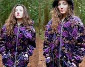 Vintage Purple and Gold Floral Parka Coat
