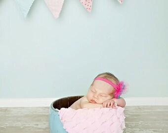"Pink Ruffle Fabric 14"" x 30"""