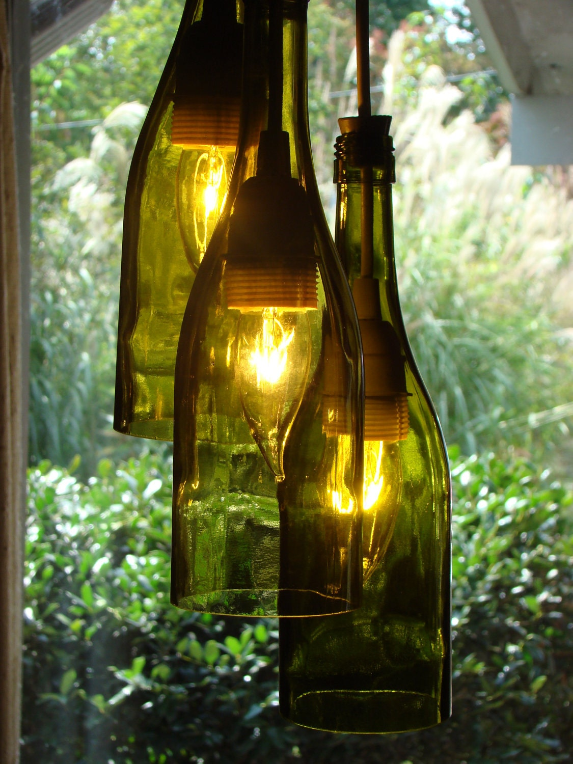 recycled wine bottle chandelier light by glow828 on etsy. Black Bedroom Furniture Sets. Home Design Ideas