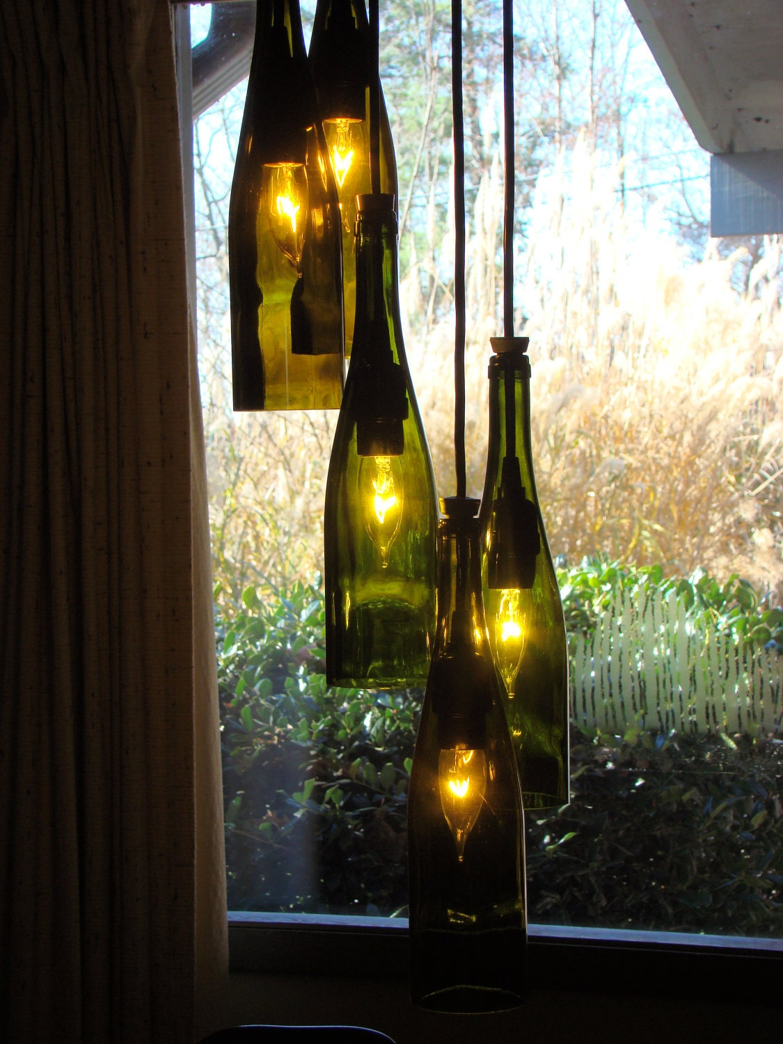 wine bottle chandelier by glow828 on etsy. Black Bedroom Furniture Sets. Home Design Ideas