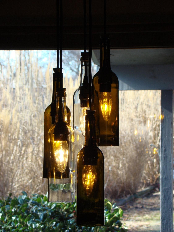 Wine bottle chandelier light - Wine bottles chandelier ...