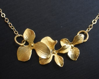 Orchid Flower Necklace, Bridesmaid Jewelry, Pendant, Gold Flower Necklace, Wedding, Bridesmaid Necklace, Bridal Jewelry, Bridesmaid Gift