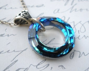 Crystal Necklace, Swarovski Blue Necklace, Crystal Pendant, Bermuda Blue, Sterling Silver Necklace, Circle Necklace, Ocean Blue, Mom Gift
