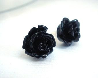 Black Rose Earrings, Black Earrings, Flower Stud Earrings, Cabochon Flower Earrings, Post Earrings, Bridesmaid Earrings, Bridesmaid Gifts