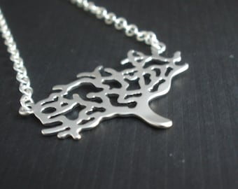 Tree Necklace, Tree of Life, Silver Tree Necklace, Silver Necklace, Tree Pendant Necklace, Nature Jewelry, Matte, Birthday Gift, Friend Gift