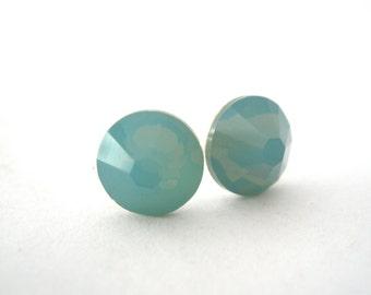 Aqua Earrings, Opal Stud Earrings, Crystal Earrings, Swarovski Crystal, Silver, Pacific Opal, Teal, Light Green Stud Earrings, Opalescent