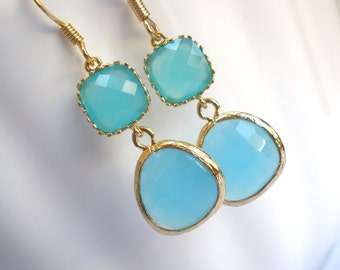 Blue Earrings, Aqua Blue Earrings, Gold Earrings, Mint Earrings, Bridesmaid Earrings, Bridesmaid Jewelry, Bridal Jewelry, Bridesmaid Gifts