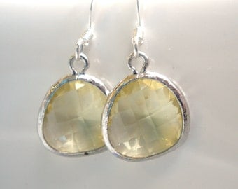 Yellow Earrings, Citrine Earrings, Jonquil, Soft Yellow and Silver Earrings, Bridesmaid Earrings, Bridal Earrings Jewelry, Bridesmaid Gifts