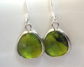 Green Earrings, Green Apple Earrings, Silver Earrings, Apple Green Silver, Bridesmaid Earrings, Bridal Earrings Jewelry, Bridesmaid Gifts