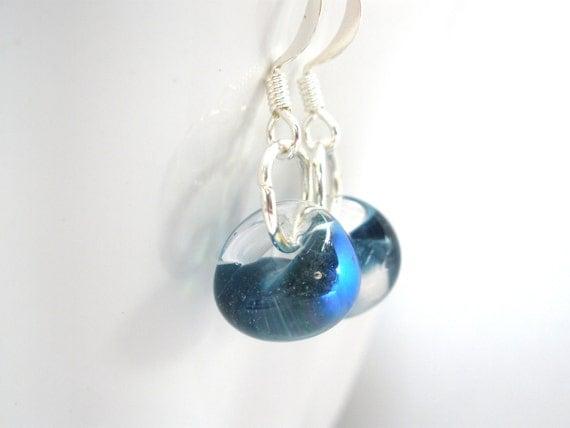 Lampwork Blue Earrings, Tear Drop Earrings, Glass Petite Drop