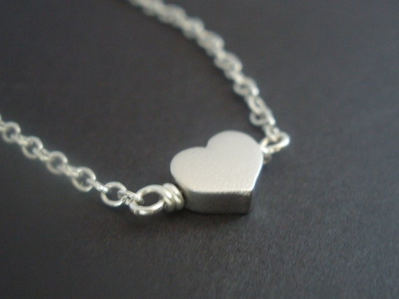 Heart Necklace, Silver Heart Necklace, Heart Pendant, Tiny Heart Charm Necklace, Dainty Necklace, Matte, Bridesmaid Gifts, Birthday Gift