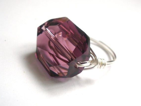 Crystal Ring, Swarovski Ring, Wrapped Silver Ring, Glass Ring, Amethyst, Purple Ring, Wire Wrapped, Cocktail Ring, Size 5, 6, 7, 8, 9