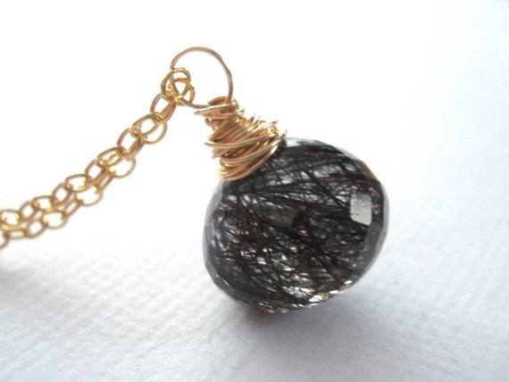 Tourmalinated Quartz Necklace, Gold Filled Necklace, Black Necklace, Rutilated Quartz, Weddings, Onion Briolette, Crystal, Wire Wrapped