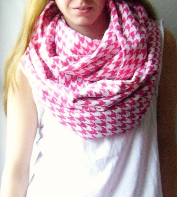 Pink Houndstooth Infinity Scarf