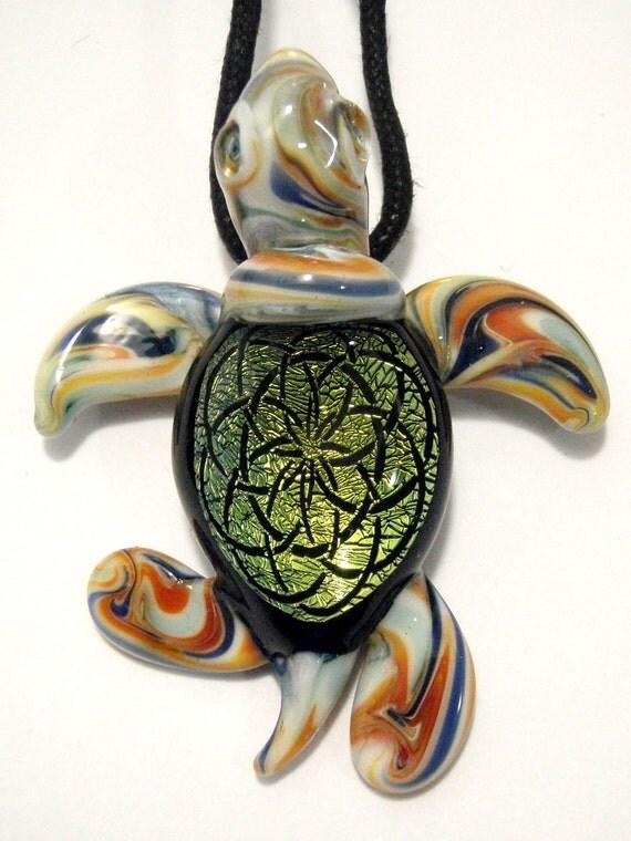Dichroic Lampwork Glass Pendant - Sea Turtle