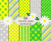 Daisy Digital Paper with bonus Daisy Clipart - Green Yellow and White Daisy Flowers - Instant Download