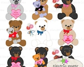 Valentines Teddy Bear Clip Art - PNG and JPG Stuffed TeddyBears - Hearts Flowers and Bears - Instant Download