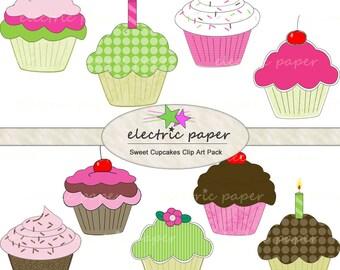 Sweet Cupcakes - 9 digital cupcakes in .png format - instant download
