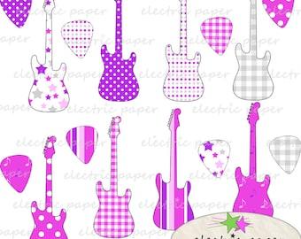 Electric Guitar and Guitar Picks Digital Clip Art - Pink Purple Grey -  300 dpi png files - instant download