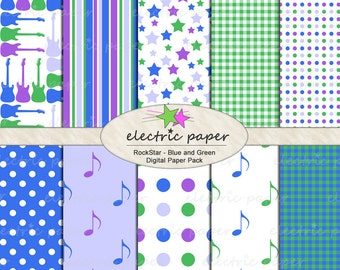 Electric Guitar Rock n Roll Digital Paper Set - Blue Green Purple  - 10 .jpg files 300dpi - Instant Download