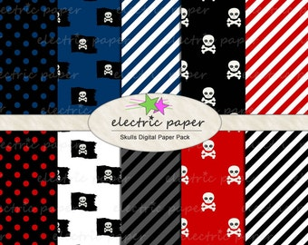 Skull Pirate Digital Paper -  digital paper skulls pirate flags polka dot and stripes - Pirate Boy