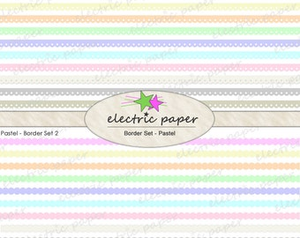 Pastel Digital Borders / Dividers Clip Art Set - Includes 3 Sets of Borders in 10 Colors Each  -  Borders can be layered - instant download